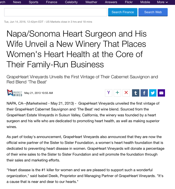 Yahoo Finance: New Winery Places Women\'s Heart Health at It\'s Core ...
